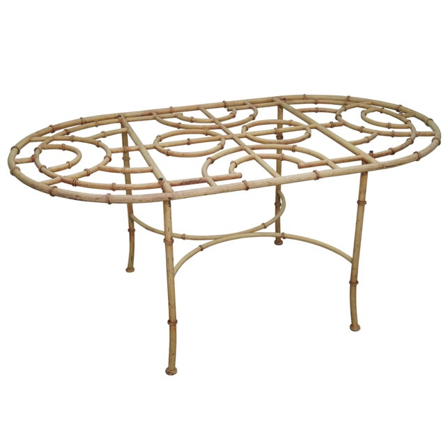 Vintage Faux Bamboo Oval Patio Dining Table Base Chairish