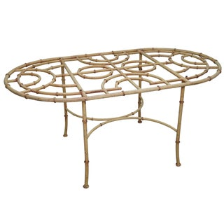 Vintage Faux Bamboo Oval Patio Dining Table Base