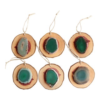Agate and Cedar Slice Christmas Ornaments - Set of 6