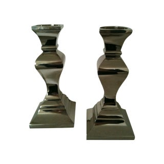 Mid-Century Silver Candlesticks - A Pair