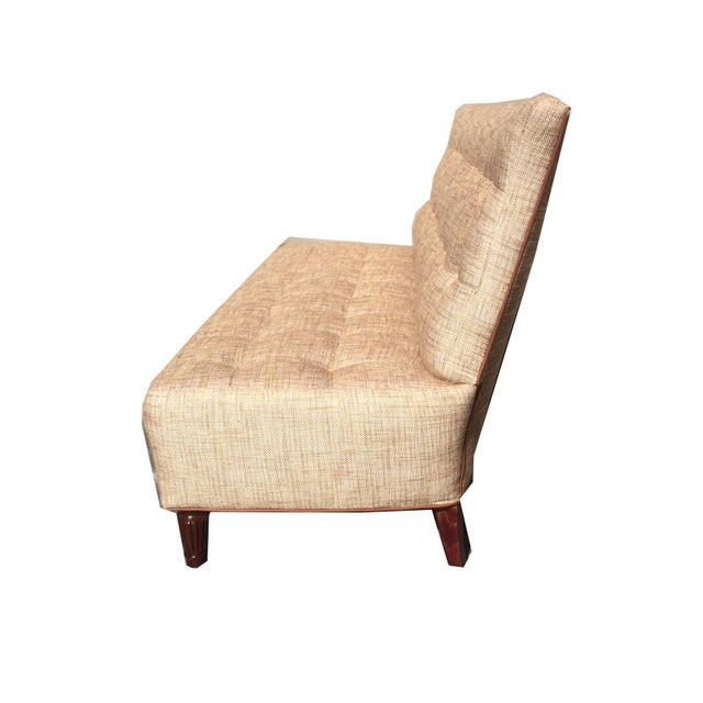 Brand New Custom Made Biscuit Tufted Sofa Settle With Leather Trim - Image 3 of 10