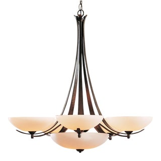 Hubbardton Forge Aegis 5-Arm Chandelier in Mahogany Finish with Opal Glass