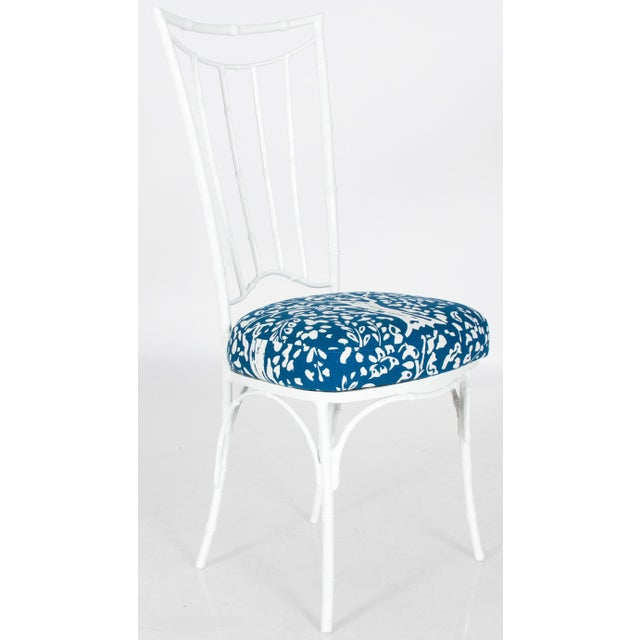 Chinoiserie White Powder-Coated Metal Faux Bamboo Dining Set - Image 7 of 9