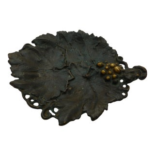 Antique Bronze Grape Leaf Penny Tray