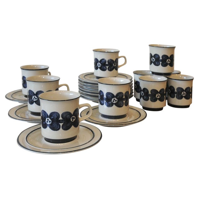 Mid-Century Design Four Cobalt Mugs & Saucers - 10 - Image 1 of 9