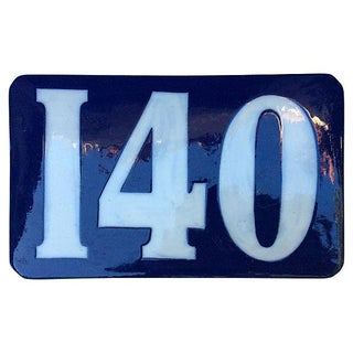 French Blue Ceramic Enamel Number '140' Plaque
