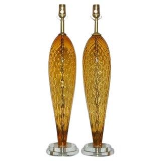 Italian Windowpane Glass Lamps in Butterscotch