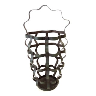 Industrial Rustic Curly Green Iron Vase