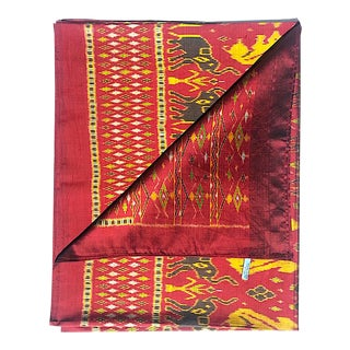 Silk Ikat Textile Red Gold Animal Motif