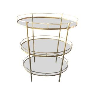 Mid-Century Brass and Glass Three Tier Bar Cart
