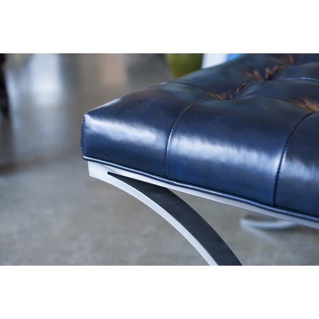 Image of Tuft Navy Blue Genuine Leather Ottoman