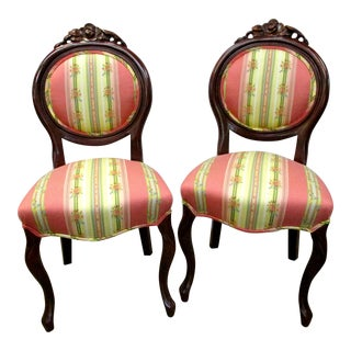 Antique French Oval Back Chairs - A Pair