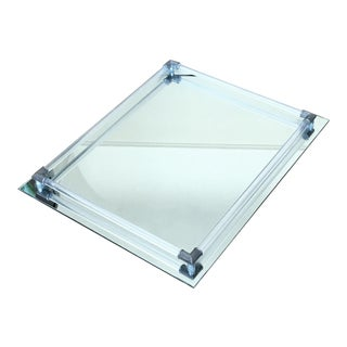 Vintage Hollywood Regency Mirrored Glass Tray with Lucite Rods