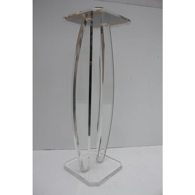 Image of Oval Lucite Vintage Pedestal W/Glass Top Mirror