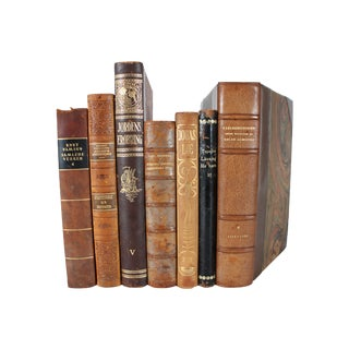 Decorative Designer Leather Books - Set of 7