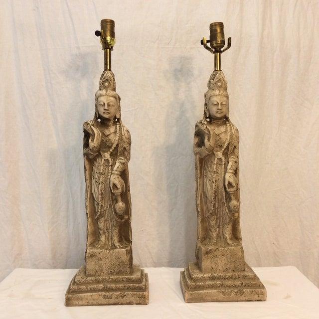 MCM Quan Yin Lamps - Pair - Image 2 of 7