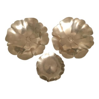 Set of 3 Vintage Brass Lotus Decorative Sculptural Bowls