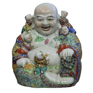 Canton Porcelain Happy Buddha w/ Kids Statue