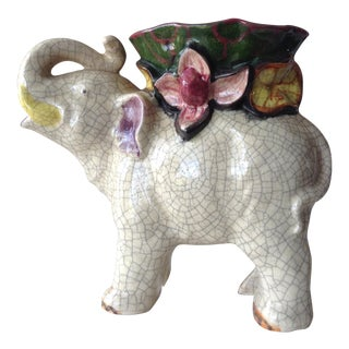 Japanese Ceramic Crackle Elephant Planter