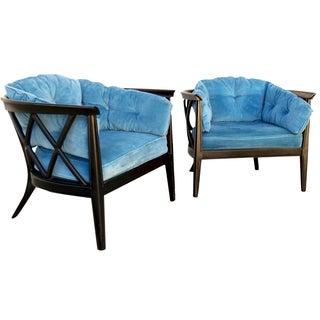 Vintage Lattice Back Barrel Chairs - Pair