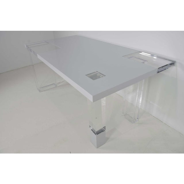 Unique Signed Lucite and White Lacquer Desk or Table - Image 4 of 10