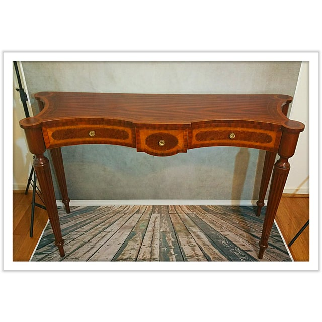 Hand Carved Console Table ~ Maitland smith inlaid hand carved console table chairish