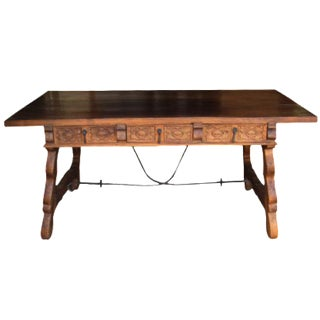 Early 1900's Spanish Farmhouse Iron Trestle Carved Desk