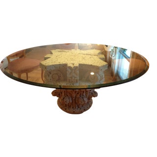 Sculptural Stone & Glass Dining Table