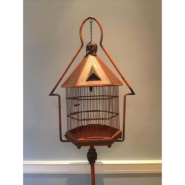 Antique 1920s Pnf Birdcage & Decorative Stand - Image 3 of 9