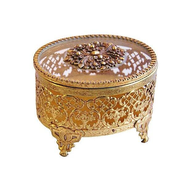 1940s Brass & Glass Jewelry Trinket Box - Image 2 of 6