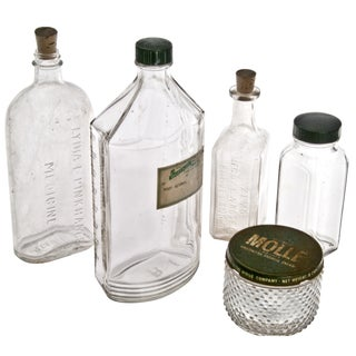 Vintage Clear Display Bottles - Set of 5