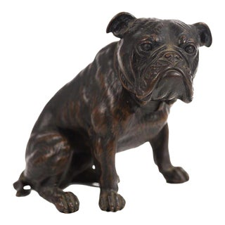 Antique Austrian Bronze Bull Dog Figurine
