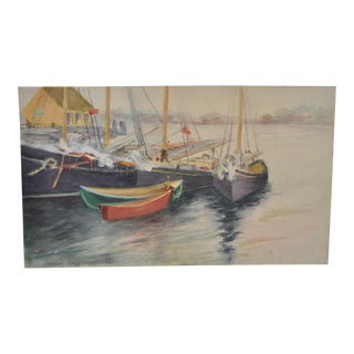 1930s Vintage Boats in the Harbor Watercolor Painting