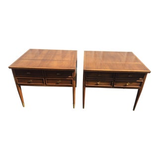 Mid-Century Inlaid Side Tables - A Pair