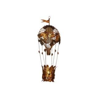 Huge Gilt Italian 1968 Hot Air Balloon Lamps