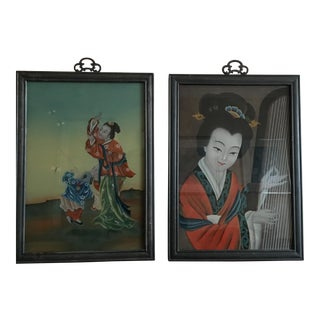 Chinese Glass Paintings - A Pair