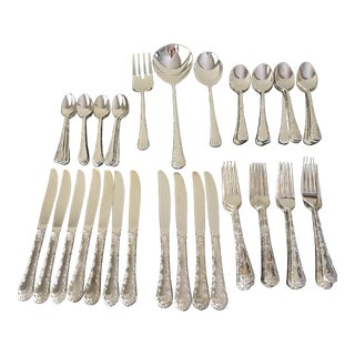 Beautiful Service for 12 Silverplate Flatware Set - Set of 50
