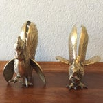 Image of Vintage Brass Fighting Roosters - A Pair