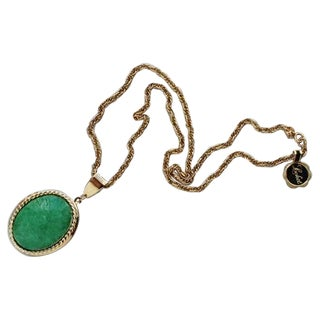 Park Lane 60s Jade Locket Pendent Necklace