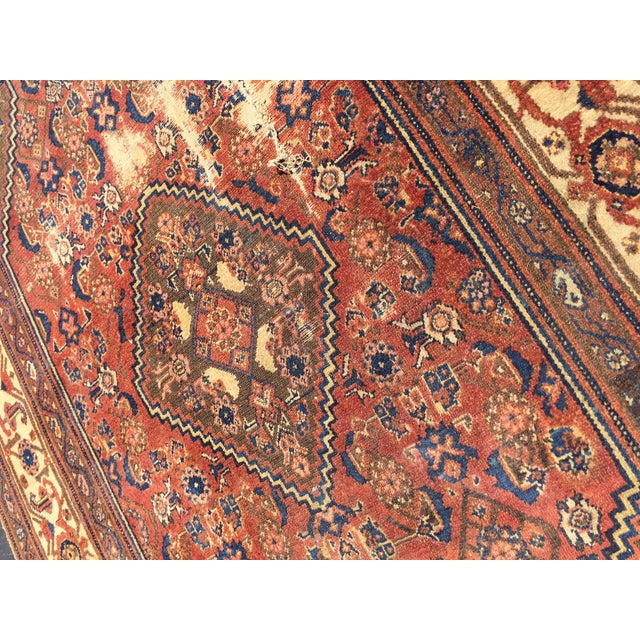 Antique Distressed Persian Rug / Wall Hanging - 4′4″ × 6′2″ - Image 9 of 10