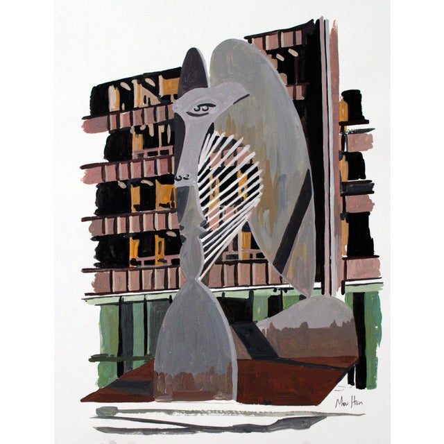 Image of Picasso Statue Illustration Giclee Print
