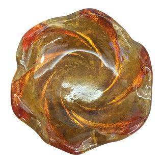 Mid-Century Amber Art Glass Swirl Dish