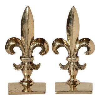 Vintage Brass Fleur De Lis Bookends - A Pair