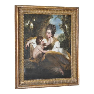 Exquisite 19th Century Oil Painting of a Mother and Child in a Natural Setting c.1800s