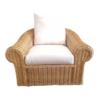 Vintage Oversized Rattan Club Chair