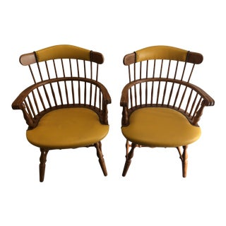 Double Spindle Back Chairs - A Pair