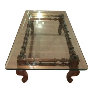 Handmade Wood Leg & Glass Table