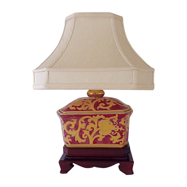 Small Porcelain Asian Table Lamp - Image 1 of 3