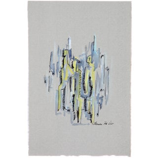 Vintage Abstraction in Yellow & Gray Drawing