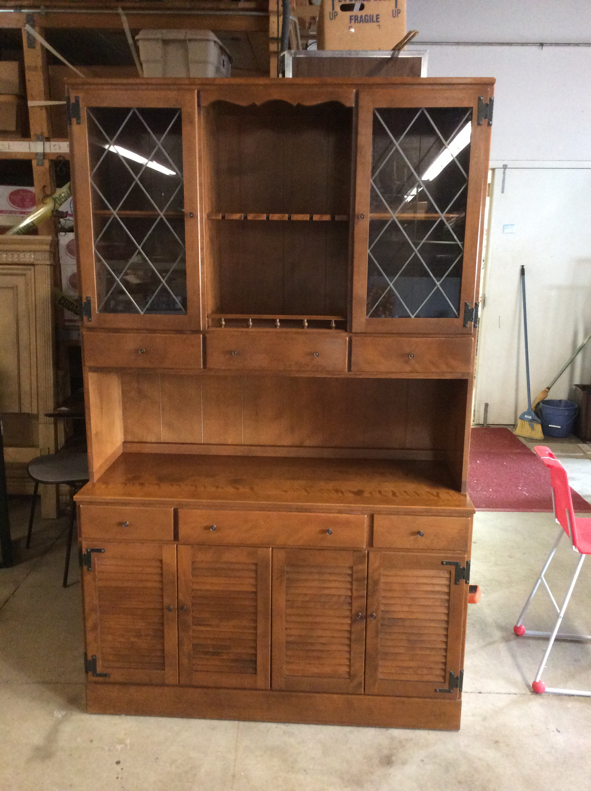 Ethan Allen Mid Century Modern Colonial China Cabinet   Image 2 Of 10
